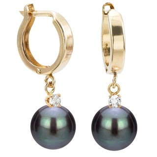 Link to DaVonna 14k Yellow Gold 1/10cttw Diamond Black Freshwater Pearl Leverback Dangle Earrings Similar Items in Earrings
