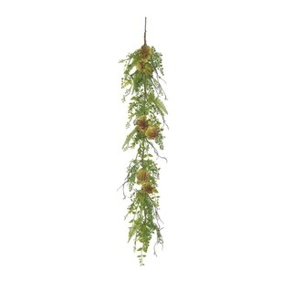 5' Green and Burgundy Red Artificial Succulent Plant and Mixed Fern Garland