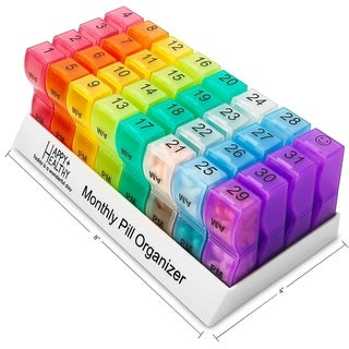 Monthly Pill Organizer - Am/Pm Daily Pill Organizer 32 Compartments for Each Day