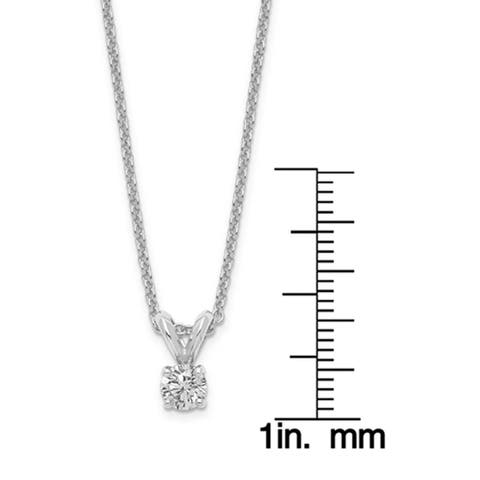 Versil Lab Grown 1/4 Ct Round Diamond Solitaire Necklace, SI2 clarity, D E F color, in 14Karat White Gold