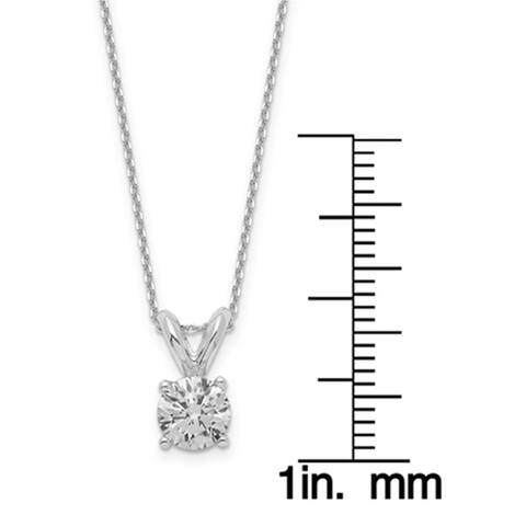 Versil Lab Grown 1/2 Ct Round Diamond Solitaire Necklace, SI2 clarity, D E F color, in 14Karat White Gold