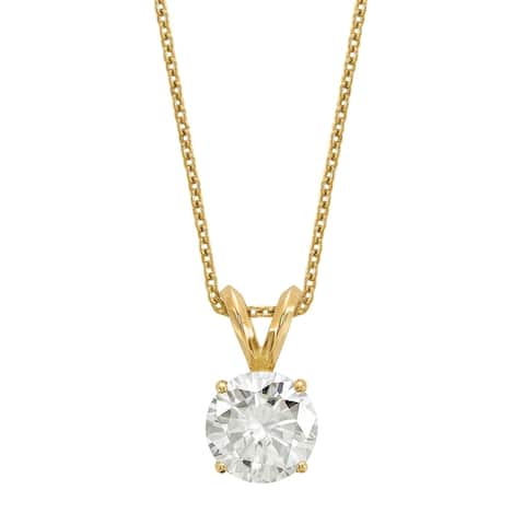 Versil Certified Lab Grown 3/4 Ct Round Diamond Solitaire Necklace, SI1/SI2 clarity, G H I color, in 14Karat Yellow Gold