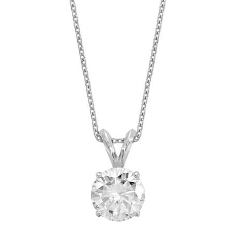 Versil Certified Lab Grown 1 Ct Round Diamond Solitaire Necklace, SI1/SI2 clarity, G H I color, in 14Karat White Gold