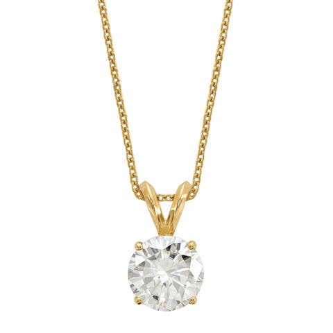 Versil Certified Lab Grown 1 Ct Round Diamond Solitaire Necklace, SI1/SI2 clarity, G H I color, in 14Karat Yellow Gold