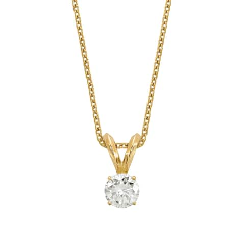 Versil Lab Grown 1/3 Ct Round Diamond Solitaire Necklace, SI2 clarity, D E F color, in 14Karat Yellow Gold