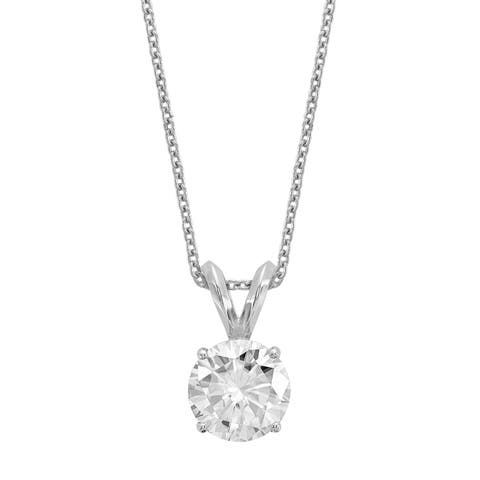 Versil Certified Lab Grown 3/4 Ct Round Diamond Solitaire Necklace, SI1/SI2 clarity, G H I color, in 14Karat White Gold