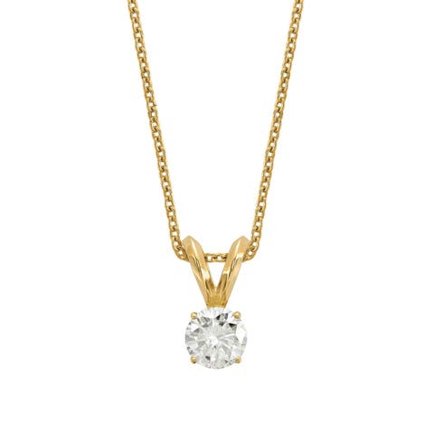 Versil Lab Grown 1/4 Ct Round Diamond Solitaire Necklace, SI2 clarity, D E F color, in 14Karat Yellow Gold