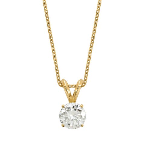 Versil Lab Grown 1/2 Ct Round Diamond Solitaire Necklace, SI2 clarity, D E F color, in 14 Karat Yellow Gold