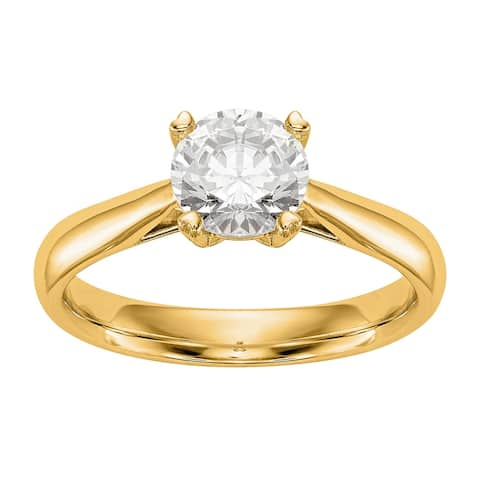 Versil Lab Grown 1/4 Ct Round Diamond Solitaire Engagement Ring, SI2 clarity, D E F color, in 14K Yellow Gold