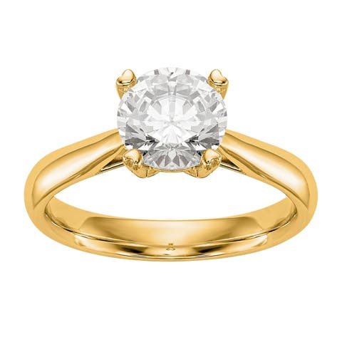 Versil Lab Grown 1/3 Ct Round Diamond Solitaire Engagement Ring, SI2 clarity, D E F color, in 14 Karat Yellow Gold