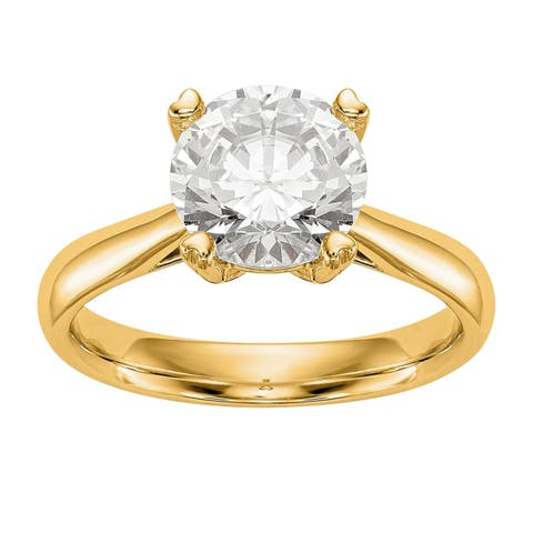 Versil Certified Lab Grown 1/2 Ct Round Diamond Solitaire Engagement Ring, SI2 clarity, D E F color, in 14 Karat Yellow Gold