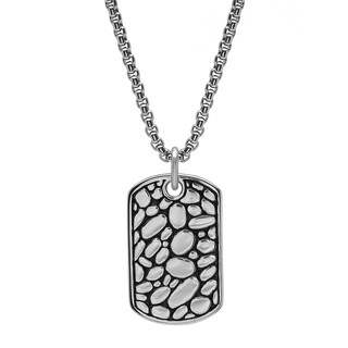Steeltime Men's Stainless Steel Cobblestone Dog Tag Pendant available in 2 colors