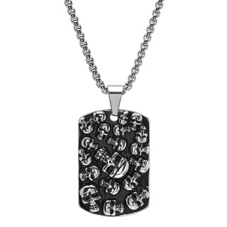 Steeltime Men's Stainless Steel Skull Cluster Dog Tag Pendant Available in 2 colors