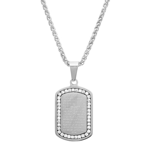 Steeltime Men's Stainless Steel Our Father Prayer Dog Tag Pendant With Cubic Zirconia in 2 colors