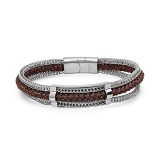 Steeltime Men's Brown Rope Braid And Stainless Steel Box Chain Layered Bracelet in 2 Colors
