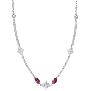 Miadora 18k White Gold Rhodolite and 7/8ct TDW Diamond Station Necklace