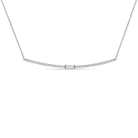Miadora 18k White Gold 1/2ct TDW Round and Baguette-Cut Diamond Bar Necklace