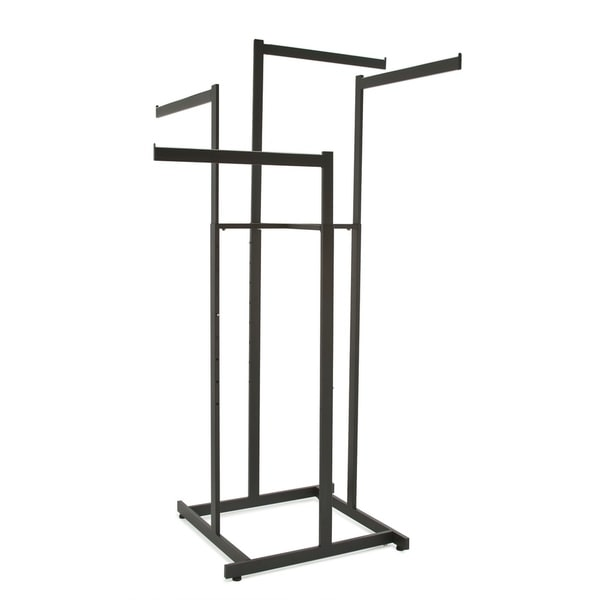 Clothing Rack - Black 4 Way Rack, High Capacity, Square Tubing, Perfect for Clothing Store Display With 4 Straight Arms