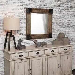 Legge Fir Wood Framed Mirror - Black/Brown - A/N