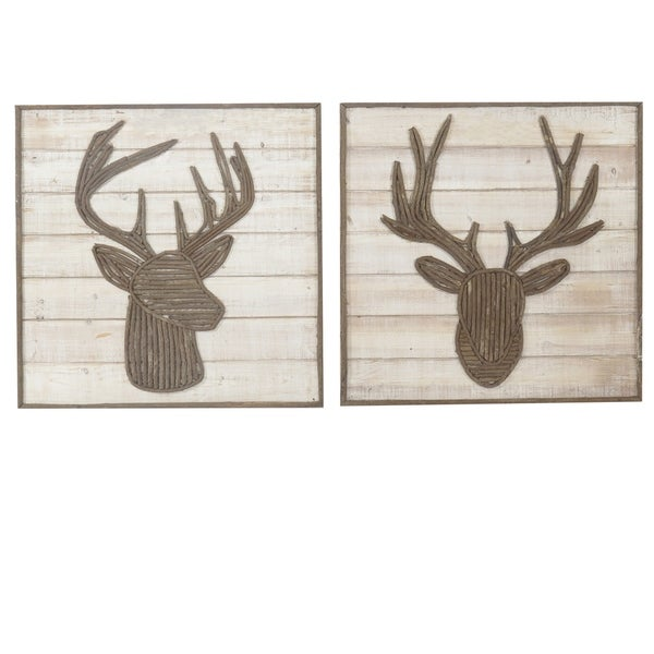 Trophy Wooden Vertical Wall Decors, Set of 2 - Brown