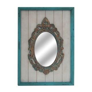 Trabs Wash 1 Multi Vertical Wood Mirror - aqua