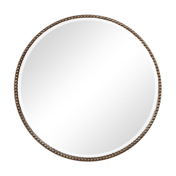 The Curated Nomad Dolores Antiqued Gold Round Wall Mirror - Antique Silver - 34x34x2.75