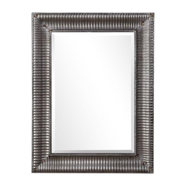 Carbon Loft Floyd Galvanized Metal Rectangular Rust Wall Mirror - 30x40x2