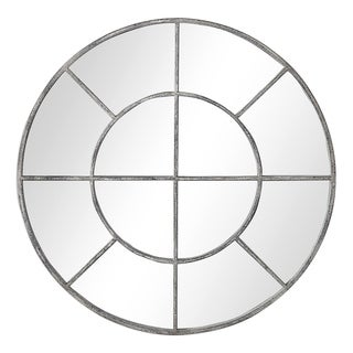 The Gray Barn Wilset Rustic Grey Round Wall Mirror