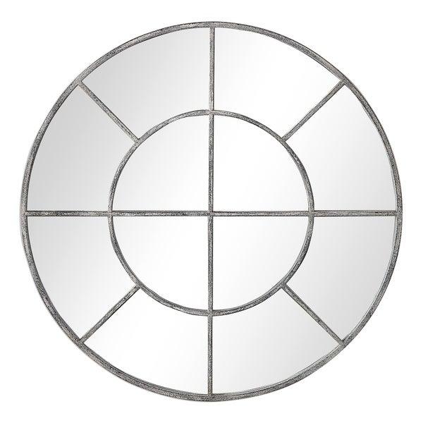 The Gray Barn Wilset Rustic Grey Round Wall Mirror