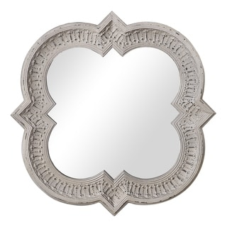 The Gray Barn Wilset Distressed Whitewash Metal Wall Mirror