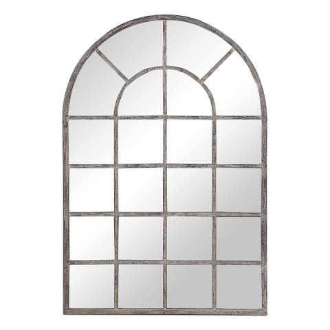 The Gray Barn Wilset Antique Rustic Grey Arched Wall Mirror