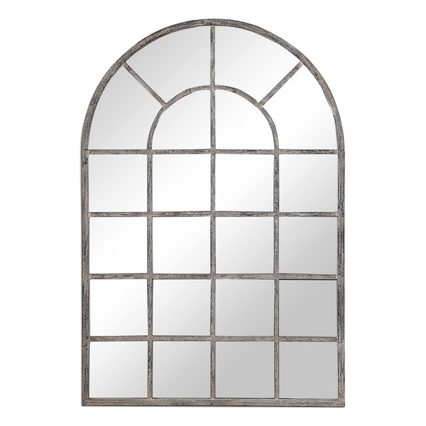 The Gray Barn Wilset Antique Rustic Grey Arched Wall Mirror. Opens flyout.