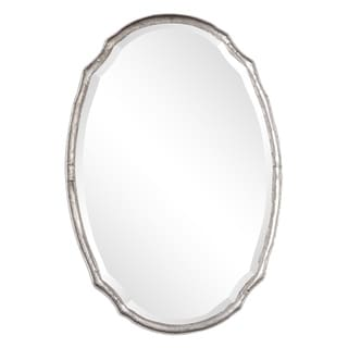 The Gray Barn Wilset Hammered Silver Oval Wall Mirror