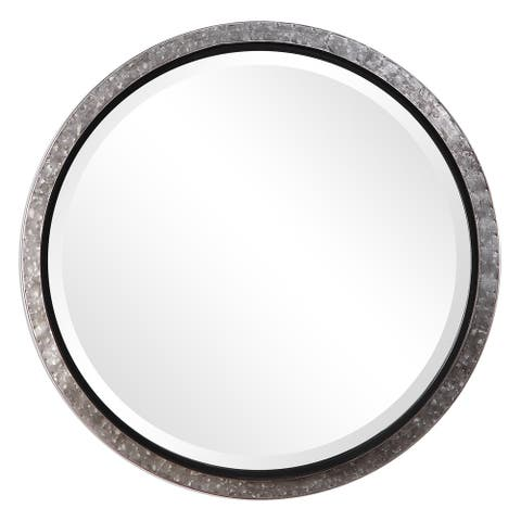 The Gray Barn Wilset Galvanized Metal and Nailhead Round Wall Mirror