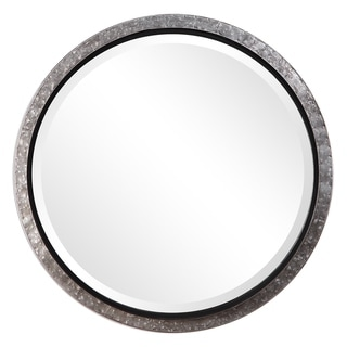 The Gray Barn Wilset Galvanized Metal and Nailhead Round Wall Mirror
