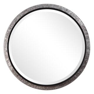 Mason Galvanized Metal and Nailheads Round Wall Mirror