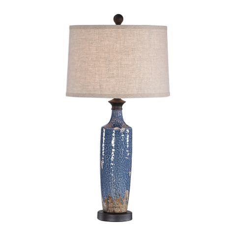 Copper Grove Bajze Blue Textured Ceramic Table Lamp with Distressing