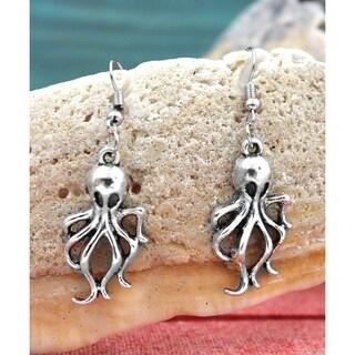Handmade Silvertone Antiqued Ghostly Octopus Dangle Earrings
