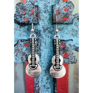 Handmade Silvertone Antiqued Guitar Dangle Earrings