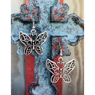 Handmade Silvertone Antiqued Bali Butterfly Dangle Earrings