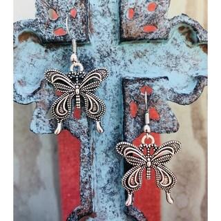 Handmade Silvertone Antiqued Vintage Butterfly Dangle Earrings