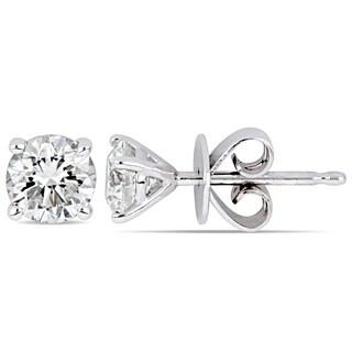 Miadora 14k White Gold 5/8ct TDW Certified Diamond Solitaire Stud Earrings (GIA)