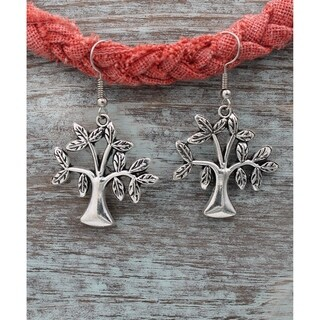 Handmade Silvertone Antiqued Joshua Tree Dangle Earrings