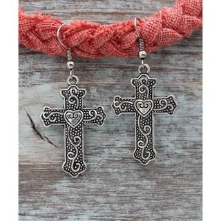 Handmade Silvertone Antiqued Cross Heart Dangle Earrings
