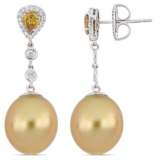 Miadora 18k Yellow Gold South Sea Cultured Pearl 7/8ct TDW Yellow and White Diamond Earrings (12-13 mm)