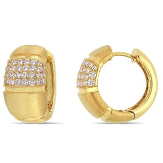 Miadora 14k Yellow Gold 4/5ct TDW Diamond Cluster Huggie Hoop Earrings