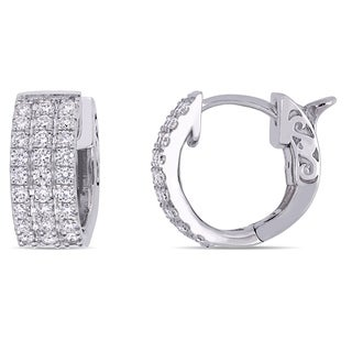Miadora 14k White Gold 1/2ct TDW Diamond 3-Row Huggie Hoop Earrings