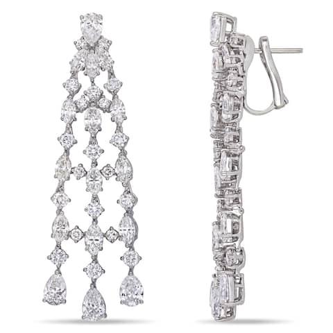 Miadora 18k White Gold 9 3/4ct TDW Multi-Cut Diamond Tassel Dangle Earrings
