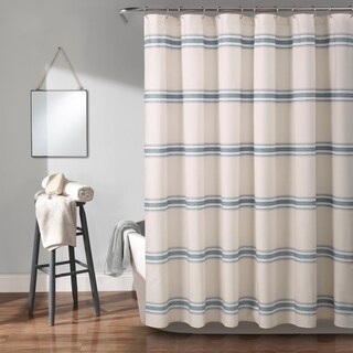 Lush Decor Farmhouse Stripe Shower Curtain
