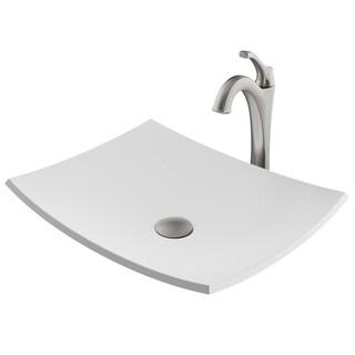 Kraus 3-in-1 Bathroom Set C-KSV-3MW-1200 White Rectangle Composite Vessel Sink, Arlo 1-Hole Faucet, PU Drain, 4 finish
